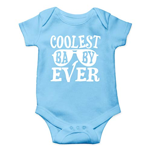 Coolest Baby Ever - Cool Little Dude - Cute One-Piece Infant Baby Bodysuit (Newborn, Light Blue)