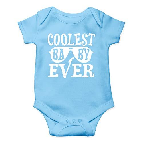 Coolest Baby Ever - Cool Little Dude - Cute One-Piece Infant Baby Bodysuit (Newborn, Light Blue)