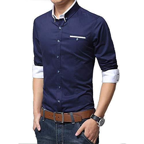 WYX Leserlich Leger Gesellschaftliche Formal Shirt Männer Langarm-Shirt Geschäfts Dünnes Hemd Büro Männlich Cotton Mens Dress Shirts,f,M
