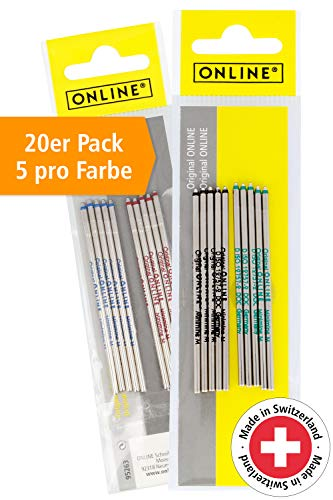 20 x Kugelschreiber Ersatzminen in 4 Farben von Online, Standard D1 Minen, Strichstärke M, dokumentenecht, 20er Set Kugelschreiberminen in vier Farben (jeweils 5x rot, blau, schwarz, grün)
