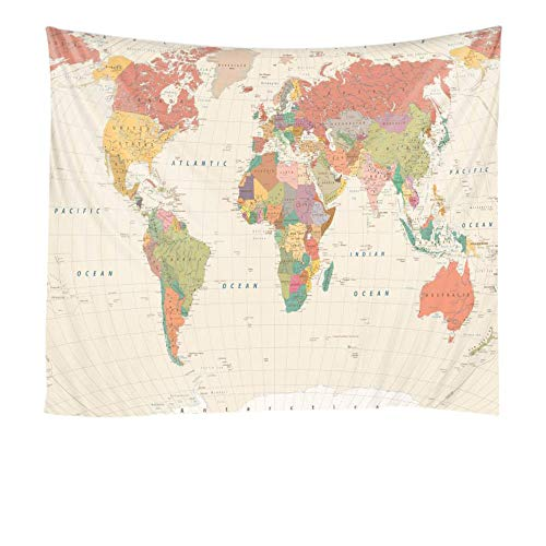 Mapa del mundo tapiz decoración de la escena de la pared tela colgante decorativa impresión digital ambiental 150x100 cm / 59 * 39 pulgadas