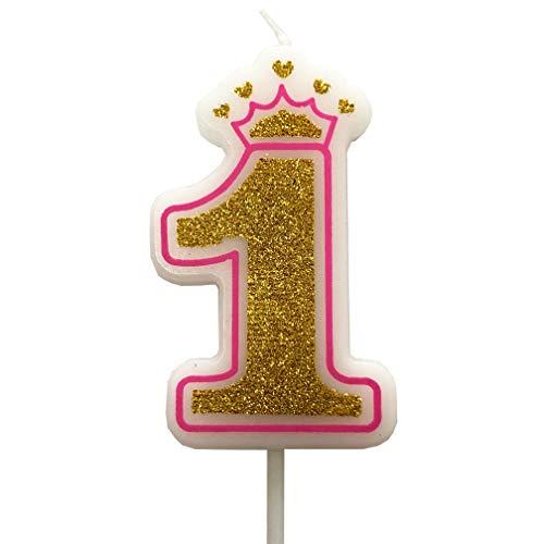 PartyMart Number 1 Giltter Candle, Pink Number 1