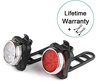 WitMoving LED Bike Lights USB Rechargeable Bicycle Lights Bright Front and Rear Bike Light Set, 650mah Lithium Battery, Water Resistant, Easy to Install, 4 Light Mode Options for Road Cycling Safety