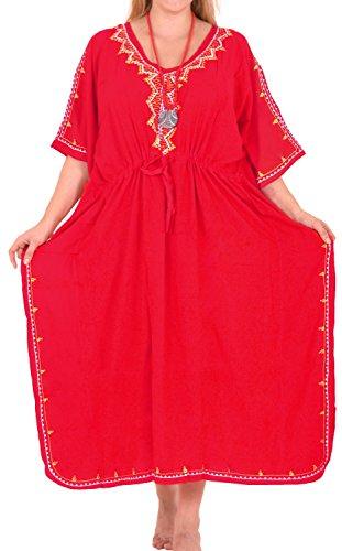 LA LEELA Damen Rayon überdimensional Maxi Bestickt Kimono Kaftan Tunika Kaftan Damen Top Freie Größe Loungewear Urlaub Nachtwäsche Strand jeden Tag Kleider Rot_M797