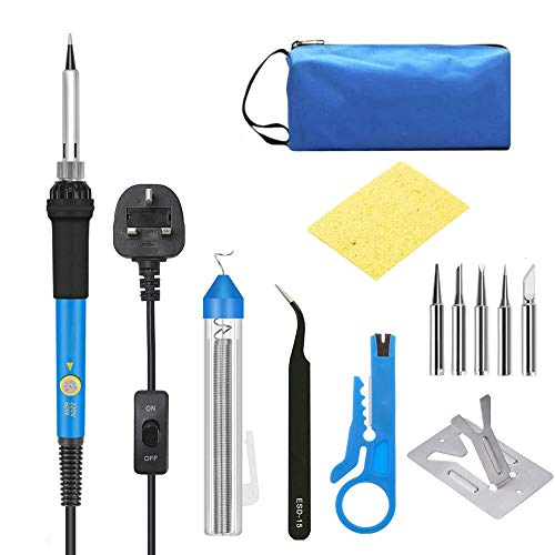 Soldering Iron, Polmxs Soldering Iron Kit with On Off Switch Soldering Kit, 60W Adjustable Temperature Soldering Irons, 5pcs Soldering Iron Tips, Soldering Wire, Soldering Iron Stand, Wire Stripper