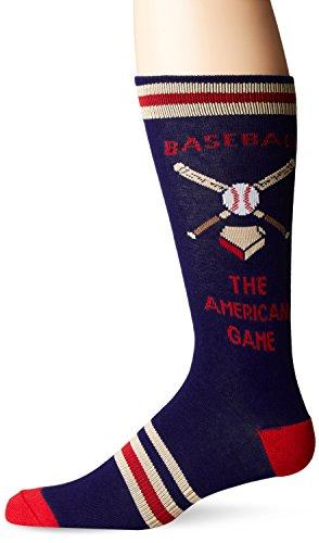 K. Bell Socks Men's Celebrating Americana Crew Socks-Made in USA, Baseball (Navy), Shoe Size: 6-12