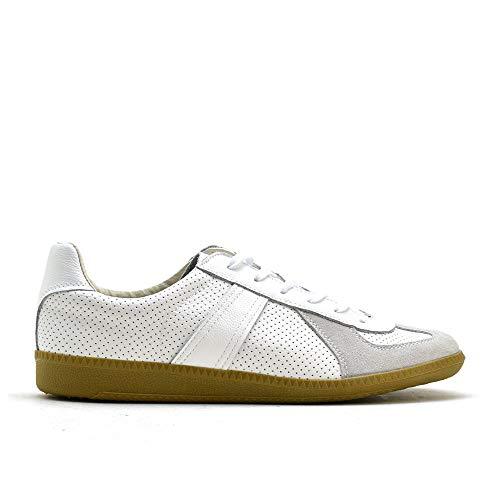 ジャーマントレーナー GERMAN TRAINER 42005 WHITE ホワイト アクションレザー ガムソール カジュアル トレーニングシューズ スニーカー 靴 メンズ EURサイズ (42, WHITE)
