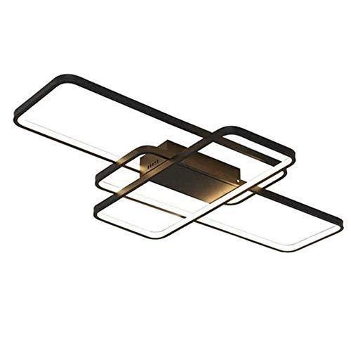 LED Deckenleuchte moderne Lampe kreative rechteckige Design Kronleuchter dimmbar mit Fernbedienung Leuchte (3000K ~ 6000K) Aluminium Deckenleuchte