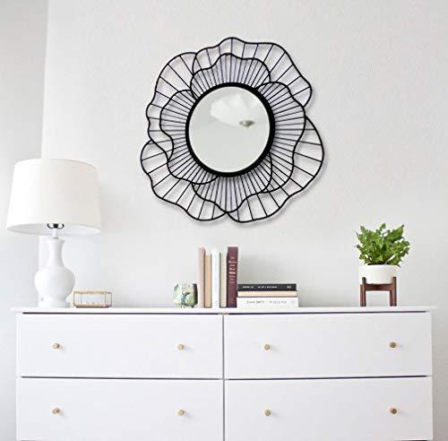 BAUPOR Espejo de pared de metal con diseño único, diseño rosa, para entrada, sala de estar, baños y oficina, moderno arte...