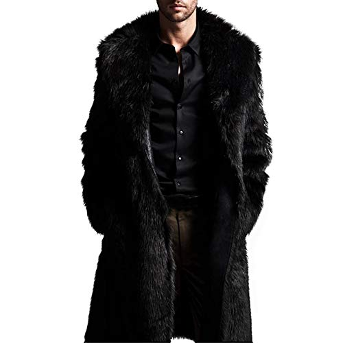 PASLTER Men's Winter Trench Overcoat Removable Faux Fur Collar Top Coat Double Breasted Business Long Pea Coat Grey