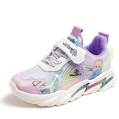 YJQXSL Zapatillas Deportivas de niñas Zapatos de Princesa Elsa Zapatos de Estudiante de Malla Zapatos for Correr Niño pequeño/niño Grande/Joven (Color : Purple, Size : 30)