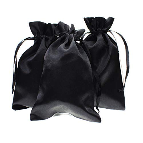 """Knitial 50 Pack 4"""" x 6"""" Inch Satin Black Gift Bags, Jewelry Bags, Wedding Favor Drawstring Bags Baby Shower Christmas Gift Bags 50 per Pack"""