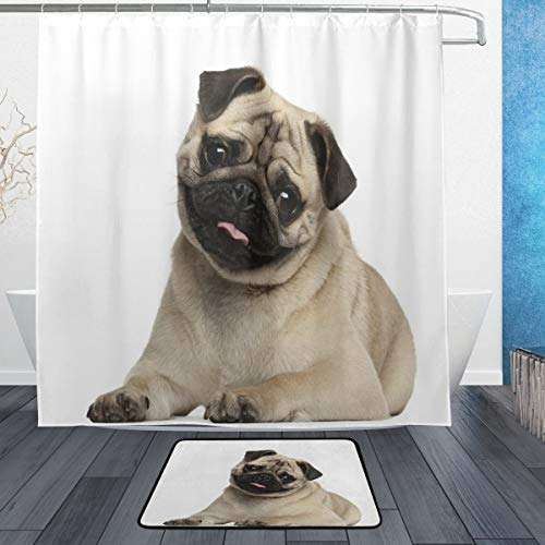 ASNIVI 9 Months Old Pug Puppy Lying Around Pet Funny Animal Domestication Print Shower Curtain Sets with Non-Slip Rug,Waterproof Shower Curtain with 12 Hooks for Home Hotel Dorm Bathroom