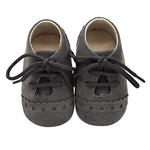 Zapatos Bebé Niña 2019 SHOBDW Zapatos Bebé Niño Verano Suela Suave Antideslizante Zapatillas Ata para Arriba Zapatos Bajos Linda Zapatos Bebé Recién Nacida Zapatos Bebe Primeros Pasos(Gris 2,0~6)