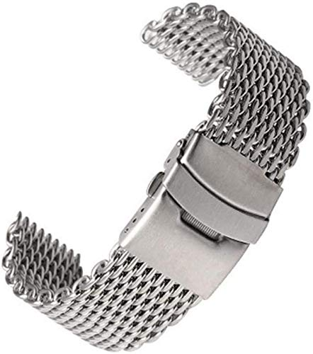 JJDSN Correa de Reloj Plateada 18mm / 20mm / 22mm / 24mm Acero Inoxidable Shark Mesh Watch Band Correa Malla Metal Watch Band Pulsera para Reloj S0061