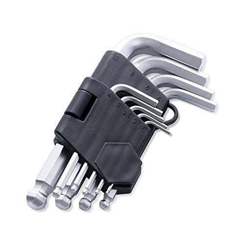 FINDER XJ193124P Arm Hex Key Wrench Set Chrome Vanadium Metric set of 9 pieces,Extra Long