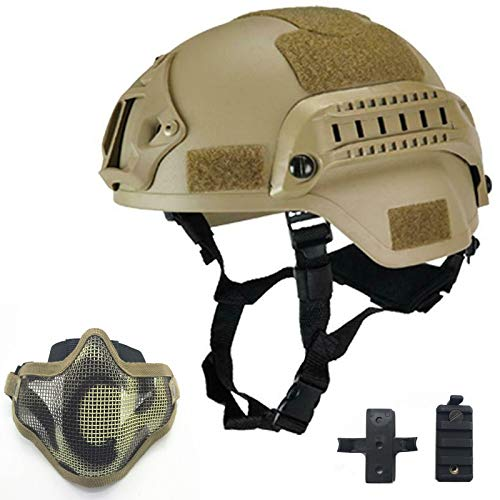 Willbebest Tactical Airsoft Paintball MICH 2000 Helmet with Side Rail & Wing-Loc Adapter  Comes with a Half Face Metal Mesh Airsoft Mask