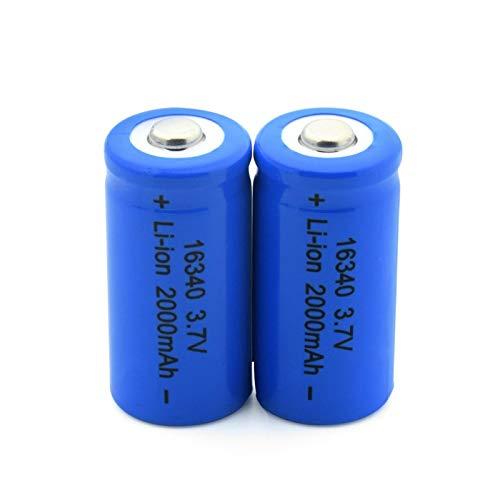 RitzyRose Batería de iones de litio de 3,7 V, 2000 mAh, 16340, célula recargable para CR123A CR17345 K123A VL123A DL123A 5018LC (2 unidades)