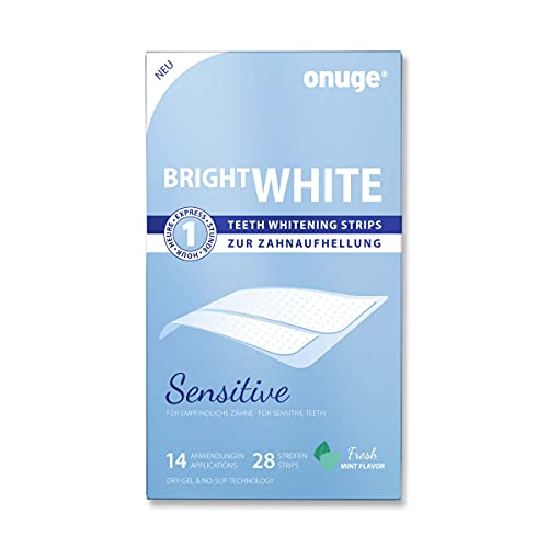 Onuge Bright White Teeth Whitening Strips Sensitive – Bleaching-Strips zur sanften Zahnaufhellung – Ohne Peroxid (für empfindliche Zähne / 28 Stripes / 14 Tage)