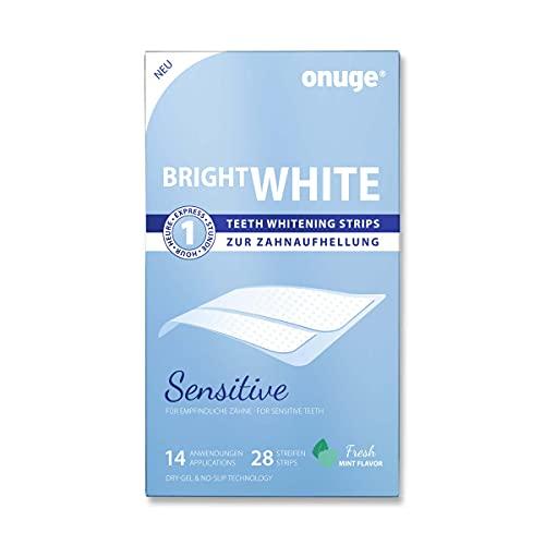 Onuge Bright White Teeth Whitening Strips Sensitive - Tiras blanqueadoras para un suave blanqueamiento dental - Sin peróxido (para dientes sensibles / 28 tiras / 14 días)