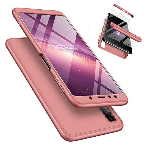 Laixin 3 in 1 Handyhülle für Samsung Galaxy A7 2018 A750 Hülle + Panzerglas, Ultra Dünn PC Plastik Anti-Kratzen Schutzhülle Schutz Case Cover mit Displayschutzfolie, Roségold
