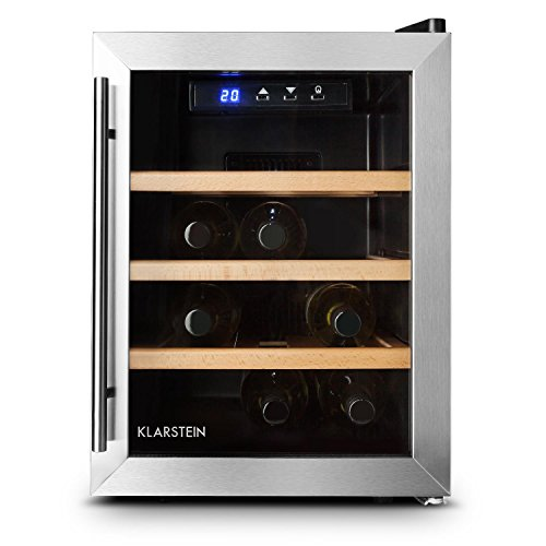 Klarstein Reserva 12 Uno - Weinkühlschrank, 33 Liter, 12 Weinflaschen, 3 x Holz-Regaleinschub, doppelt isolierte Glastür, LED-Innenraumbeleuchtung, silber
