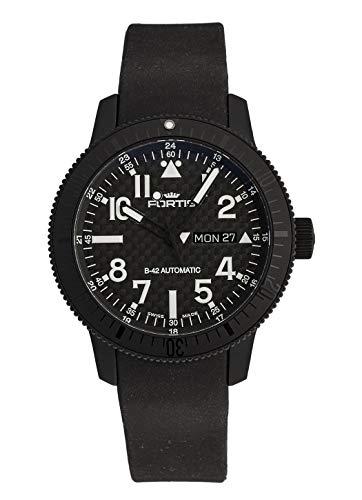 Fortis Herren-Armbanduhr B-42 Black Titanium Carbon Dial Day/Date Datum Wochentag Analog Automatik 647.28.51 K