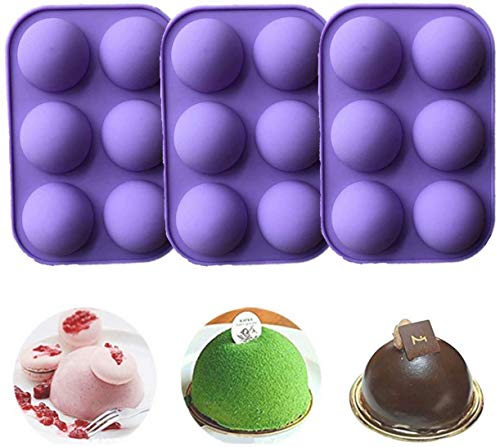 6-Hole Chocolate Making Silicone Mold, Semi-Circular Candy Cake Pudding, Baking Mold, Creative DIY Handmade Mold For Kitchen Cake Room (3 Brown) (3purple)