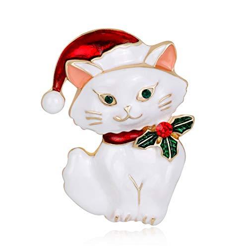 GROOMY MÄDCHEN Weihnachten Brosche Pins Katze Hut niedlich Dekor Corsage Charms Ornamente Schmuck Geschenke - weiß