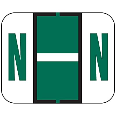 """TAB COMPATIBLE TPAM-N 1838 Permanent Color Code Label, Alphabet,""""N"""", 1 1/4"""" x 1"""", Dark Green (Pack of 500)"""