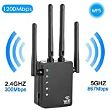 WiFi Range Extender,1200Mbps Wireless WiFi Signal Booster Repeater,Dual Band 2.4G & 5G Expander,Signal Amplifier 360°Full Coverage, Extend WiFi Signal for Smart Home Alexa Devices (Black)