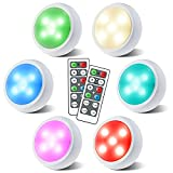 Puck Lights with Remote, OxyLED Wireless Color Changing LED Cabinet Lights with Timing, Battery Powered Tap Lights, Dimmable Closet Light, Night Light for Kids' Bedroom, Wardrobe, Kitchen (6 Pack)