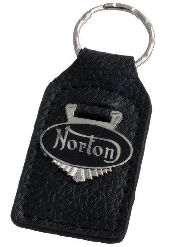 Triple-C Norton Motorcycle Leather and Enamel Key Ring Key Fob
