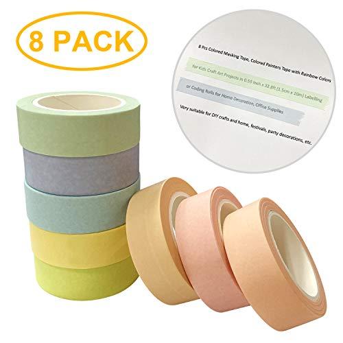 TADAE 8 Rollen Washi Masking Tape Rainbow Washi Tape Set Regenbogen Klebeband Dekorative DIY Handwerk 15mm x 10m