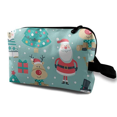 XCNGG Bolsa de almacenamiento de maquillaje de viaje Bolso de aseo portátil Bolso pequeño organizador de cosméticos para mujeres y hombres Santa Ciervo Pingüino Oso polar Árbol Muñeco de nieve