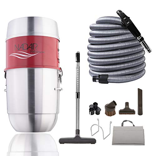 Nadair 700 aw compact and powerful central vacuum system, hybrid filtration (with or without disposable bags), 22l or 5. 8 gal, with 30ft deluxe accessory kit included, silver