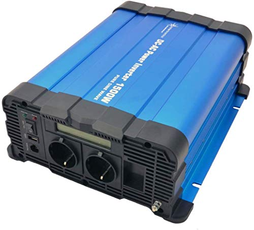 solartronics Spannungswandler FS1500D 12V 1500/3000 Watt Reiner Sinus BLAU m. Display