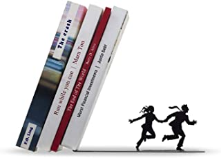 Artori Design Book End | Metal Bookends | Funny Wedding Present | Gifts for Couples | Invisible Book Stopper | Book Holder for Book Lovers | Falling Books on a Running Couple Runaway Bookend
