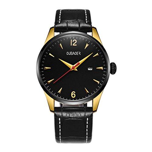 CcCoCc Herren Quarzuhr Zeiger zeigt Quarzwerk wasserdicht Lederband Uhr, 001