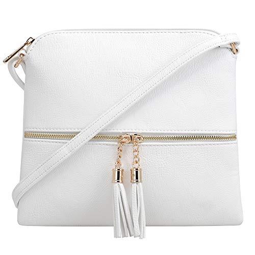 SG SUGU Lightweight Medium Crossbody Bag with Tassel and Zipper Pocket (White)