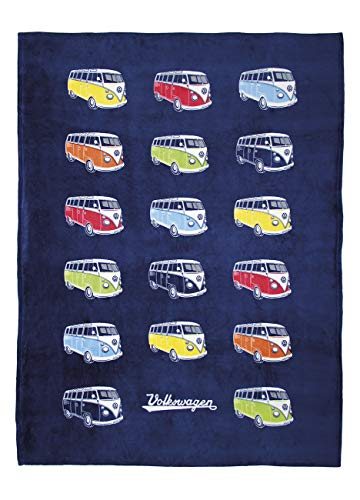 BRISA VW Collection - Weiche Volkswagen T1 Bulli Bus Fleece-Decke, Kuschel-Decke (150x200cm/Bulliparade/Blau)