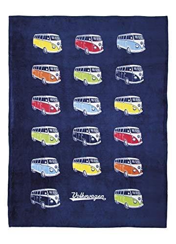 BRISA VW Collection - Volkswagen Furgoneta Hippie Bus T1 Van Manta Grande de Franela Extra Suave (Fleece) para Sofá, Cubre-Cama con Bolsa de Transporte, Colcha, Decoración del salón (Desfile/Azul)