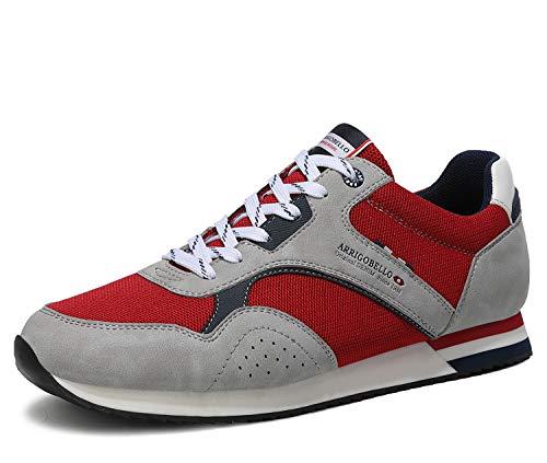 ARRIGO BELLO Zapatillas Deportivas Hombre Running Zapatos Vestir Casual Transpirables Sneakers Gimnasio Correr Tamaño 40-46 (43 EU, Rojo Gris)