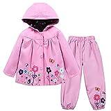 TURMIN Kinder Regenjacke Jungen Mädchen Regenanzug Regenbekleidung wasserdichte Kinderjacke Baby Kleinkind Winddichte Jacke Regen Poncho, Rosa, 100(1-2 Jahre)