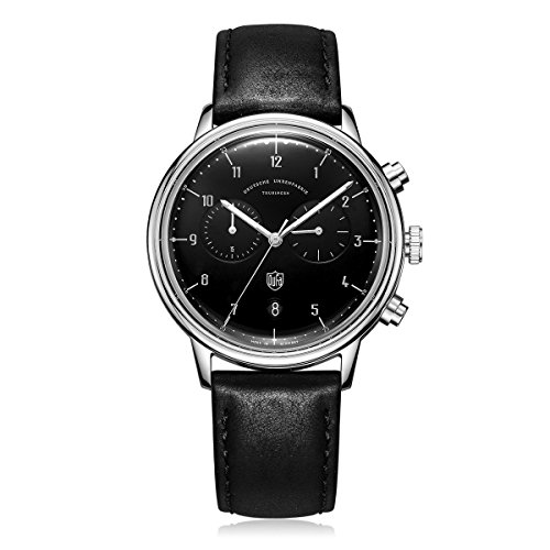 DuFa Unisex Chronograph Quarz Uhr mit Leder Armband DF-9003-01