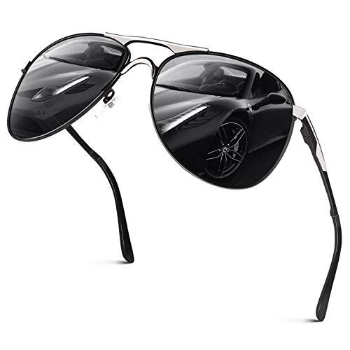 GQUEEN Hombres Premium Gafas de Piloto Estilo Militar Gafas de sol polarizadas Protección UV400 Armazón de metal con bisagras de resorte GQ82