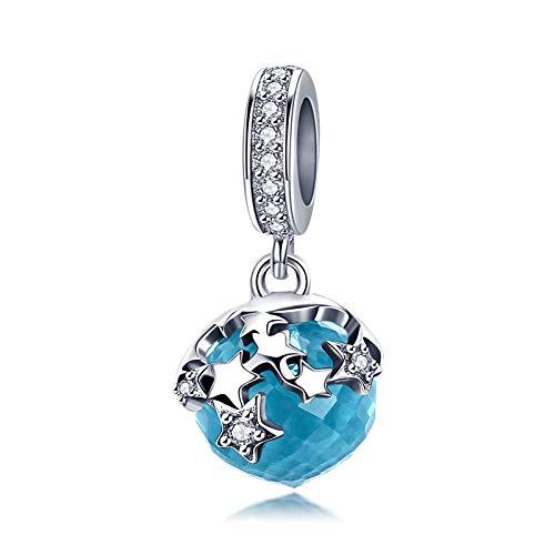 Ciondolo con pendente in cristallo blu e zircone a forma di stella in argento Sterling 925, compatibile con braccialetti e collane europei Pandora