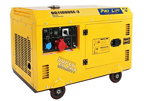 Pro-Lift-Werkzeuge Silent Stromaggregat 8000W 230V + 400V Stromerzeuger 4-Takt-Dieselmotor luftgekühlt Starkstrom Eletro-Starter Generator leise Diesel Notstromaggregat