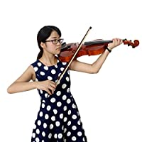 新しい4/4フルサイズの自然な音響バイオリン4弦楽器バイオリンハンドメイドバイオリン、プライマリミュートバタフライ文字列 HUANU (Color : Yellow)