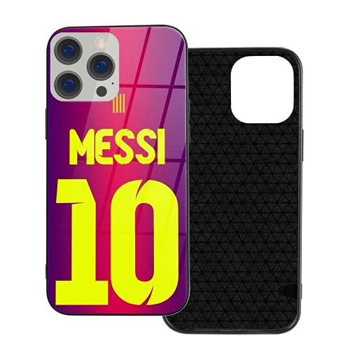 Lionel Messi caja del teléfono para el iPhone 12 Pro Mini lujo vidrio teléfono móvil casos ventilador regalo (negro, IP12 Pro-6.1)